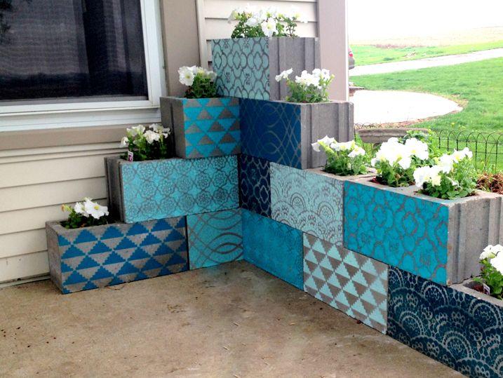 mosaic cinder block planter 7a