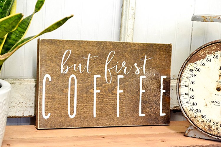 coffee station ideas but first coffee wood sign