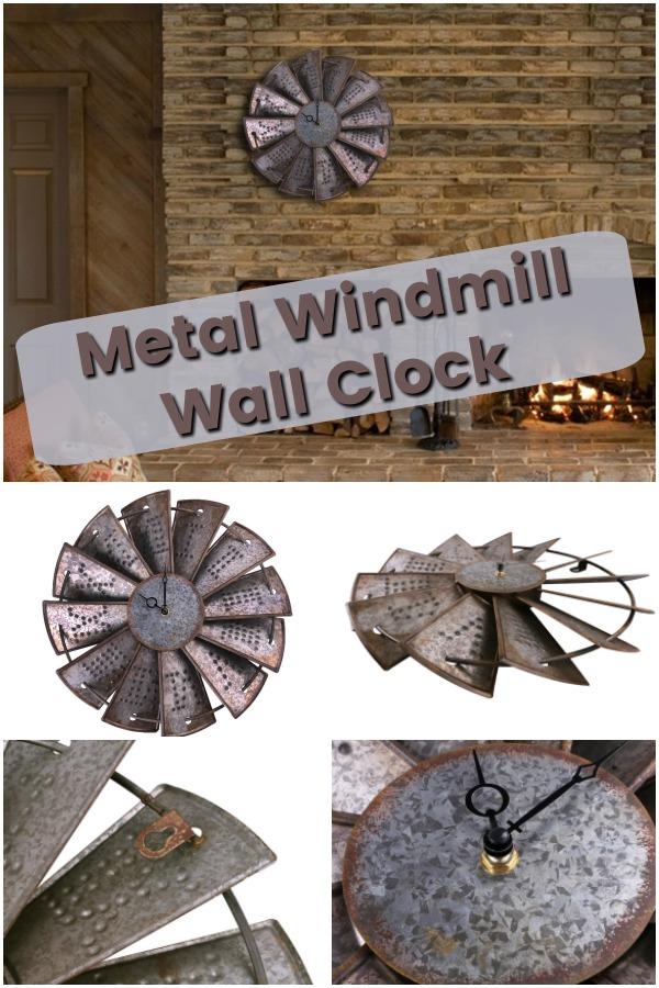 metal windmill clock is full of rustic charm