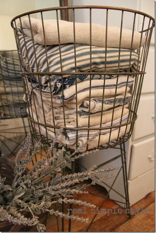 Vintage Laundry Basket is a Great Small Bathroom Towel Storage Solution