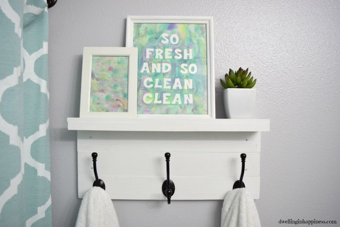 6- Simple Hooks Add Small Bathroom Towel Storage with this DIY Project