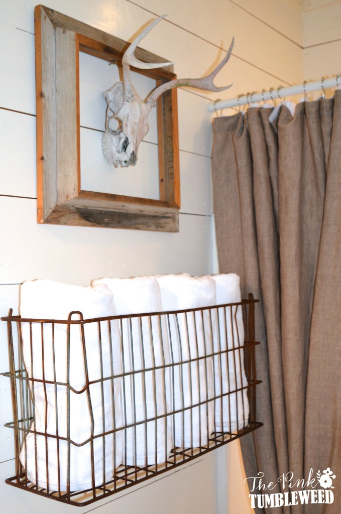 Vintage Metal Storage Basket Holds Lots of Towels, Too