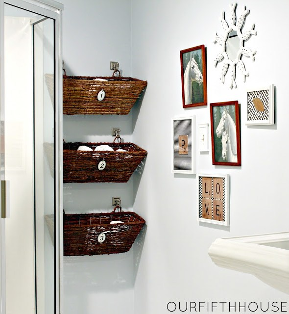 Use Wicker Window Boxes for More Bathroom Towel Storage