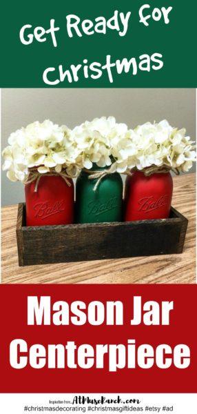 Christmas Mason Jar Centerpiece