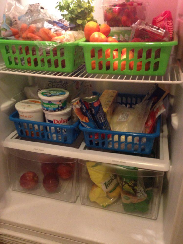 Refrigerator Organization with Dollar Tree Bins