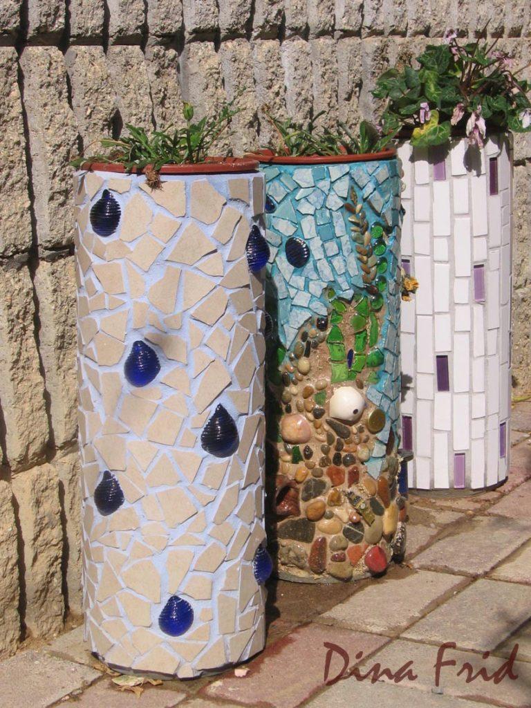 mosaic cinder block planter 4