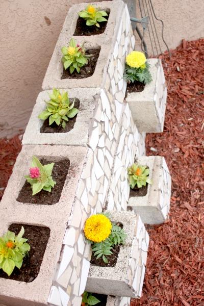 mosaic cinder block planter 6