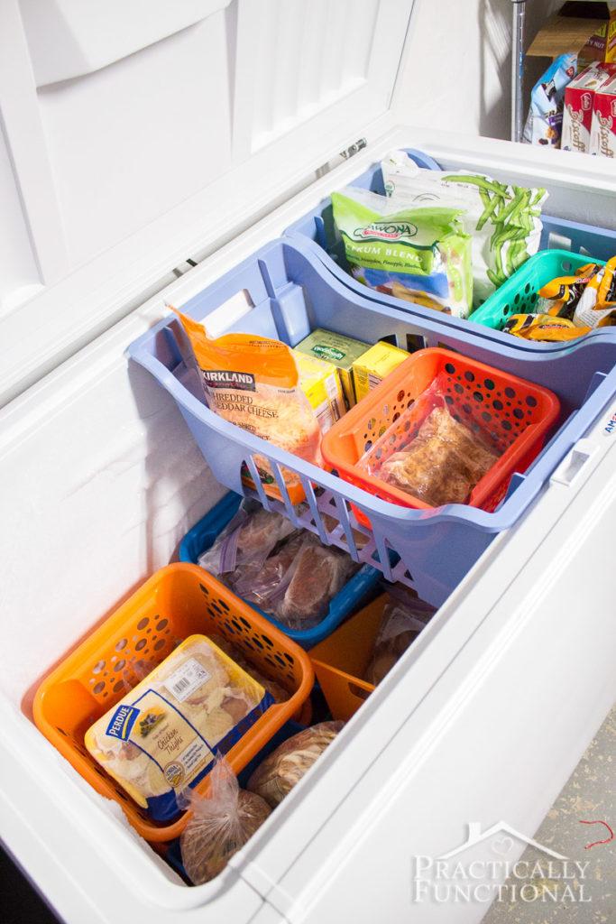 Organize Chest Freezers with Dollar Store Bins