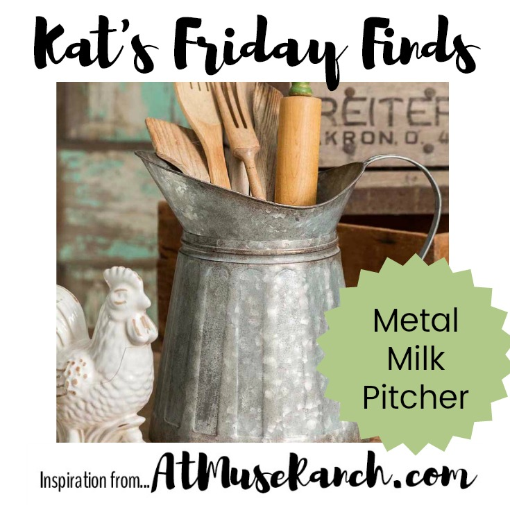 This Galvanized Metal Milk Pitcher offer great farmhouse style appeal