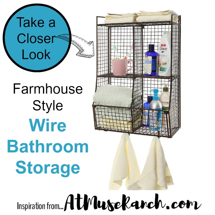 Farmhouse Style Wire Bathroom Storage