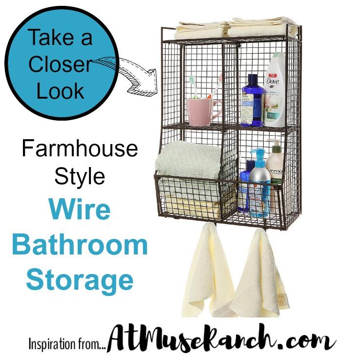 Farmhouse Style Wire Bathroom Storage